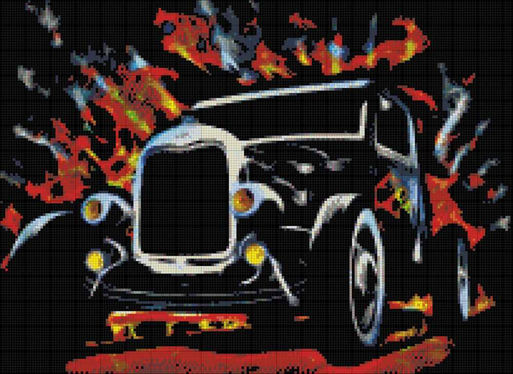 Hot Rod Dark Fabric Cross Stitch Pattern