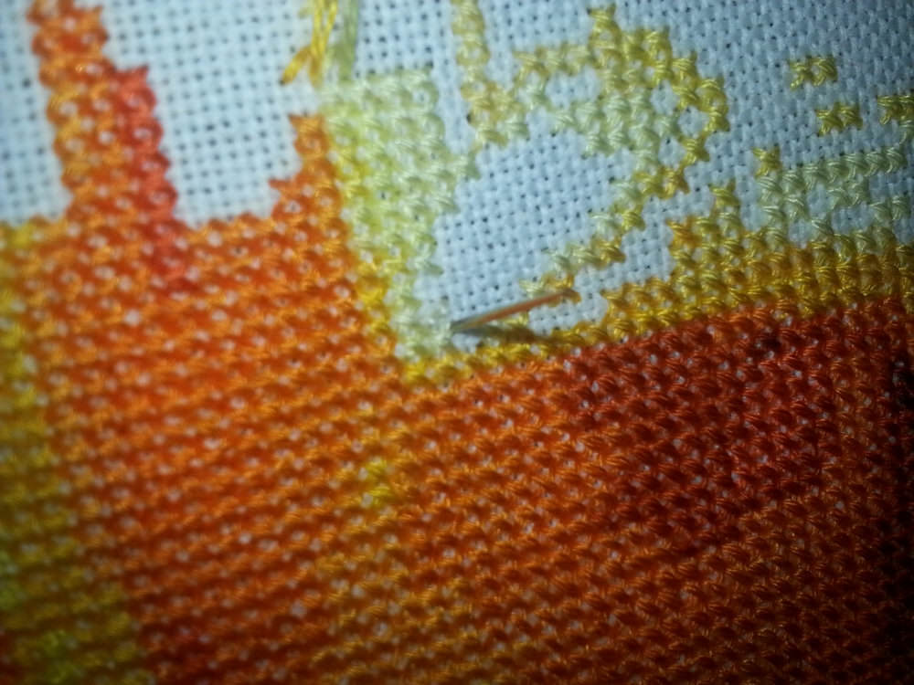 Last leg of the stitch.