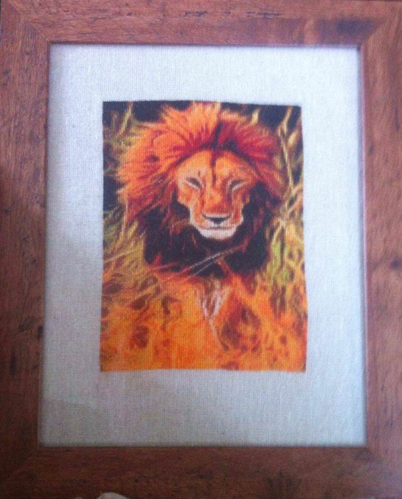 Lion Glow Stitched Framed Diane Frith