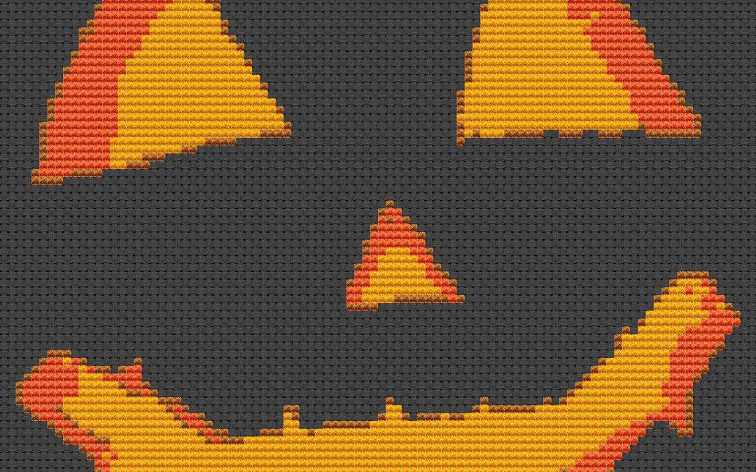 Pumpkin Carving For Dark Fabric Cross Stitch Chart