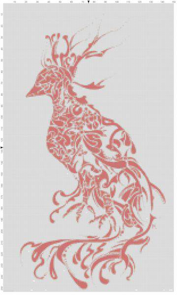 Bird Splash of Paint Cross Stitch Pattern