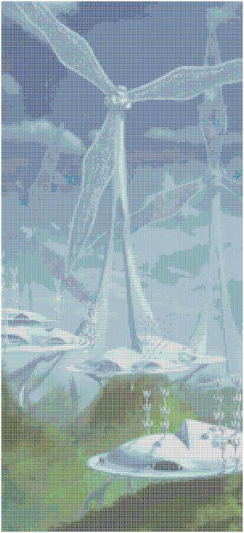 Eco Green City Cross Stitch Pattern