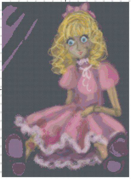 Beautiful Blonde Doll with Cracked Face Cross Stitch Pattern