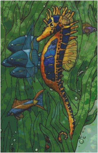 Seaweed Seahorse Cross Stitch Pattern