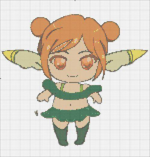 Anime Orange Fairy Cross Stitch Pattern