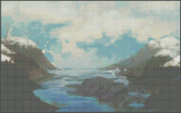 Foggy Mountain Landscape Cross Stitch Pattern