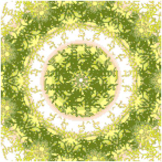 Green Spiral Fractal Cross Stitch Pattern