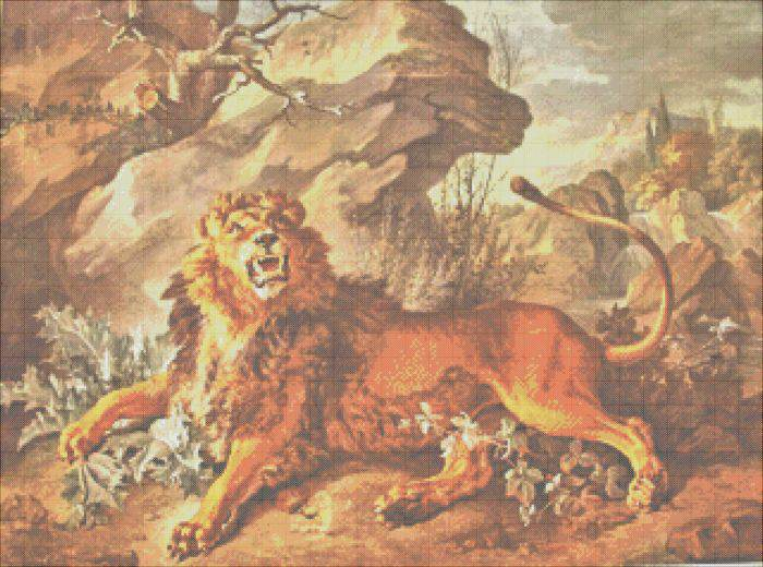 The Lion and the Spider Cross Stitch Pattern