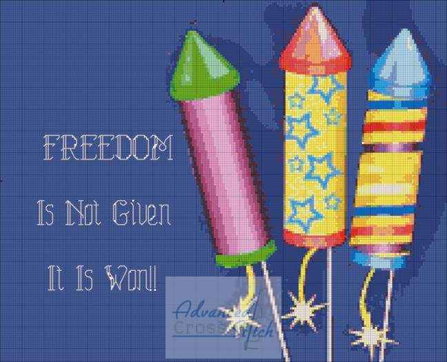 Freedom Is Not Given Cross Stitch Pattern