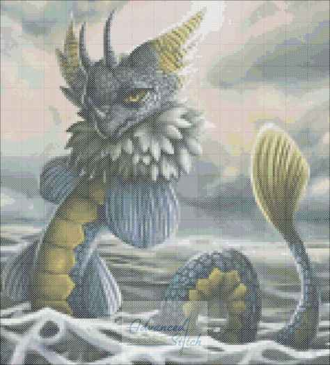 Sea Dragon Cross Stitch Pattern