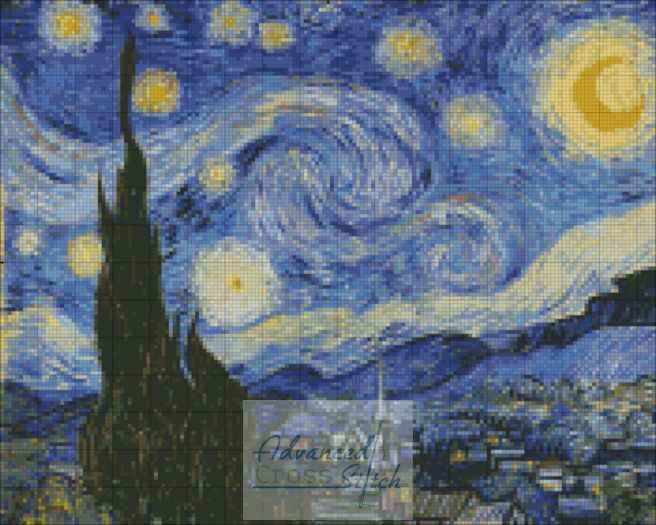 Starry Night – Vincent van Gogh 1889 Cross Stitch Pattern