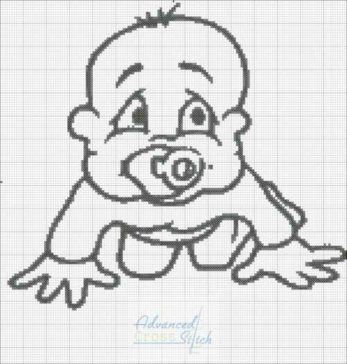 Baby Crawling Outline Cross Stitch Pattern