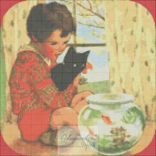 Boy With Pets Cross Stitch Pattern