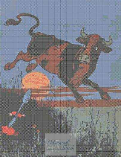 The Cow That Jumped Over The Moon – 1756 – Cross Stitch Pattern