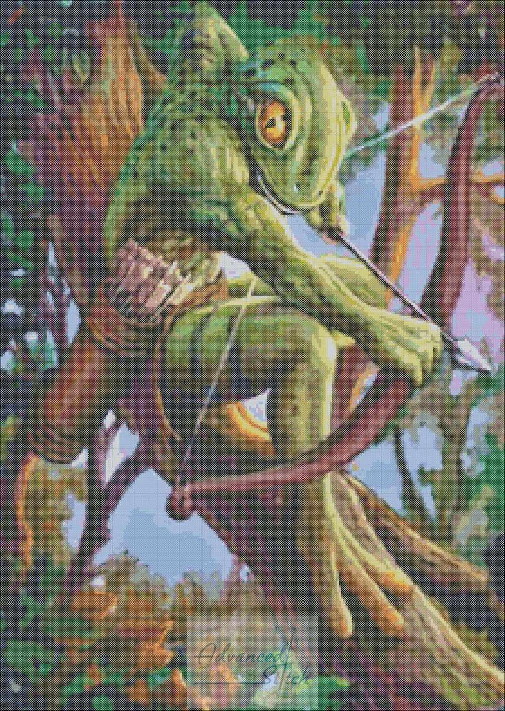 Frog Archer Cross Stitch Pattern