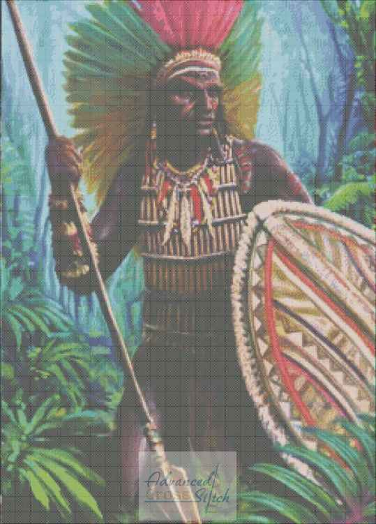 Native With Full Headgear Cross Stitch Chart