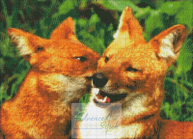 Wild Dogs Cuddling Cross Stitch Pattern