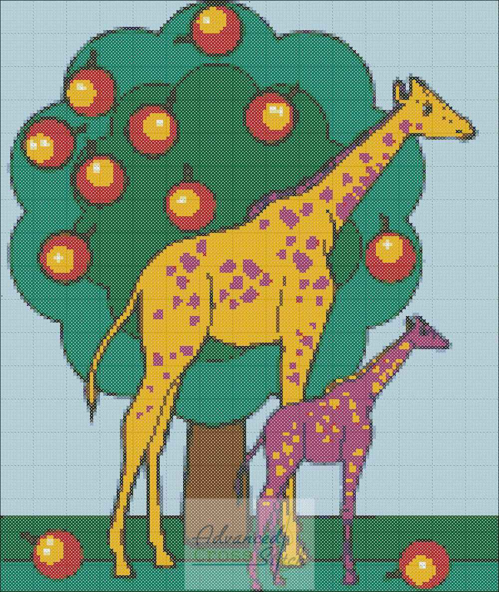 Giraffe Kids Cross Stitch Chart