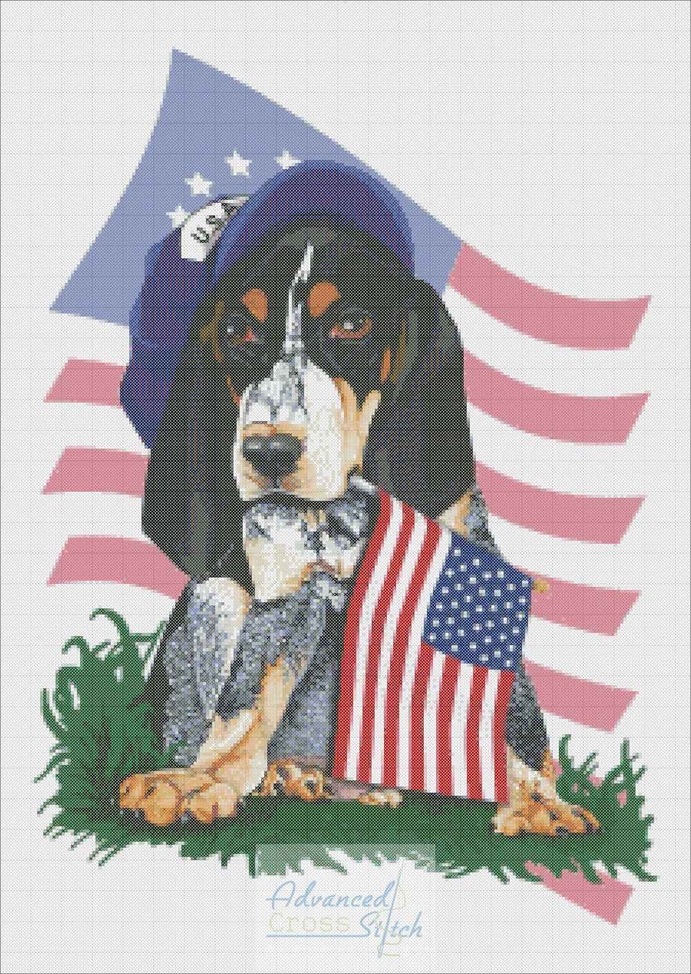 Patriotic Bluetick Coonhound Cross Stitch Pattern