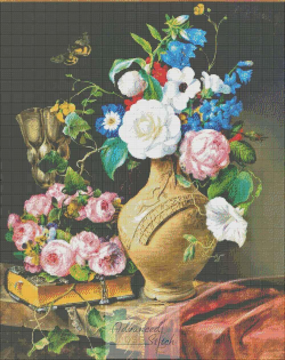 Still Life of Flowers Cross Stitch Pattern