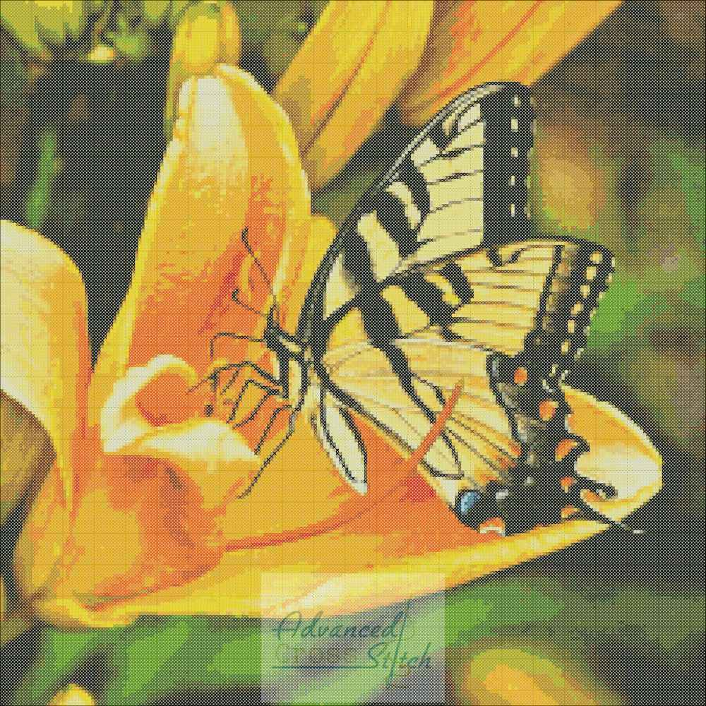 Lily with Swallowtail Butterfly Cross Stitch Chart