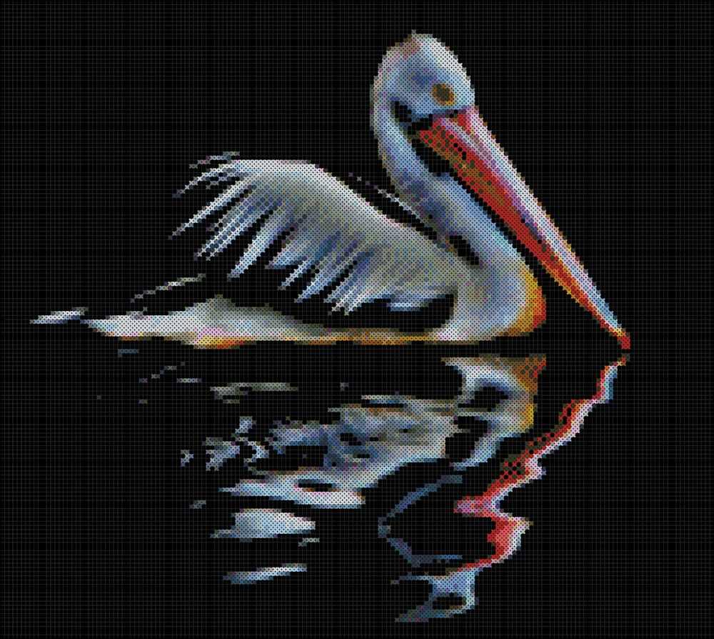 Pelican Reflection Cross Stitch Pattern