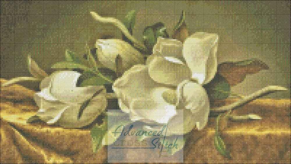 White Flowers Fresh Cut Cross Stitch Pattern