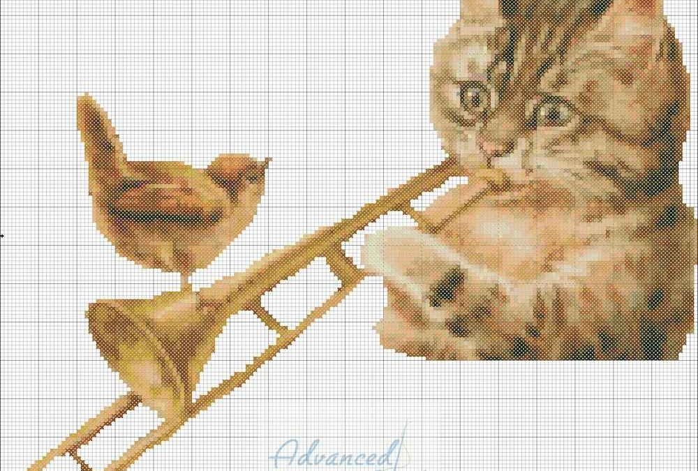 Cat Playing Trumbone Cross Stitch Chart