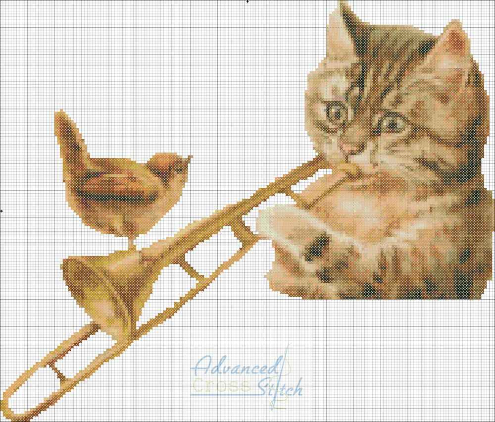Cat Playing Trumbone