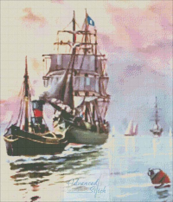 Ship with Tugboat Cross Stitch Pattern