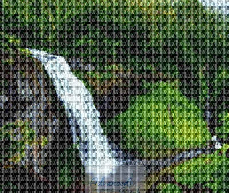 Waterfall Landscape Cross Stitch Chart