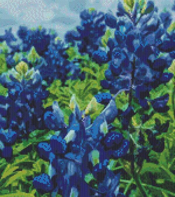 Blue Bonnets Cross Stitch Chart