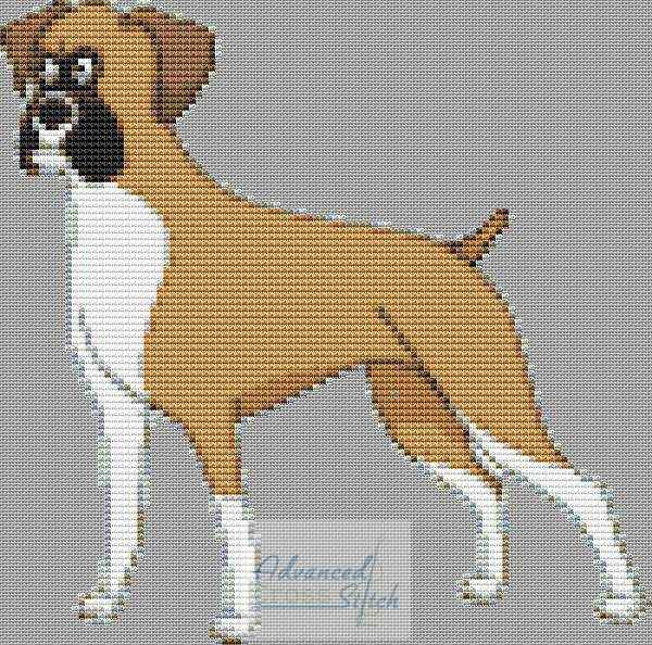 Small Boxer Dog Cross Stitch Chart