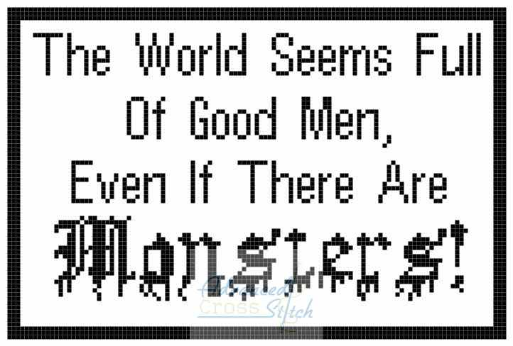 Monsters Amoung Us Quote Cross Stitch Chart