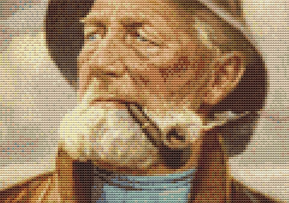 Old Fisherman Custom Cross Stitch Chart