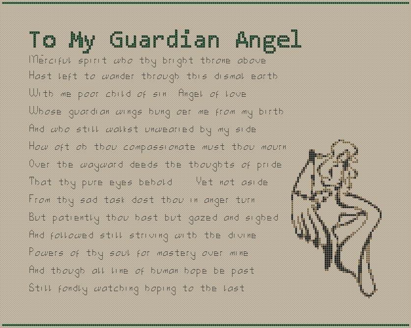 Guardian Angel Poem Cross Stitch Chart