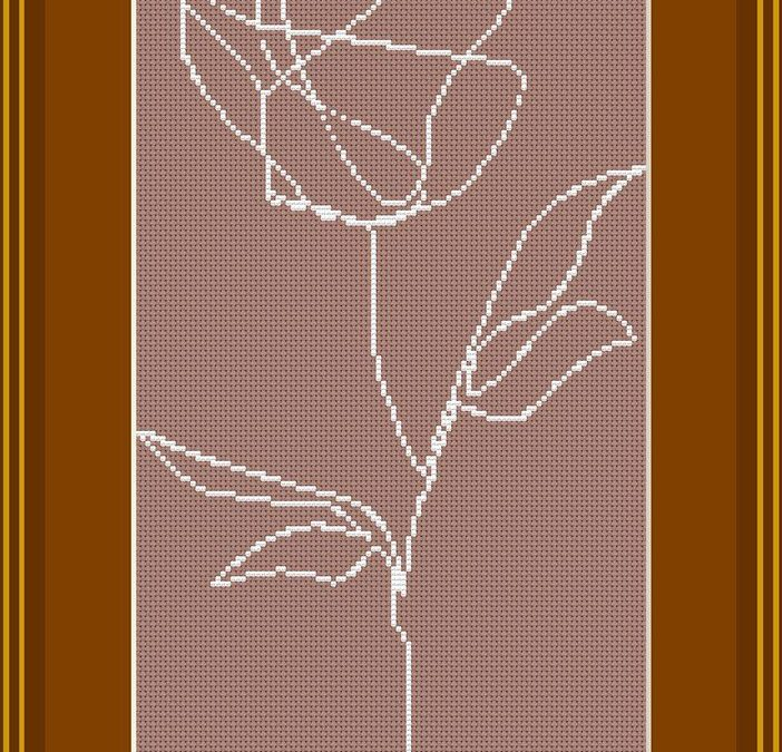 Single Line Rose Cross Stitch