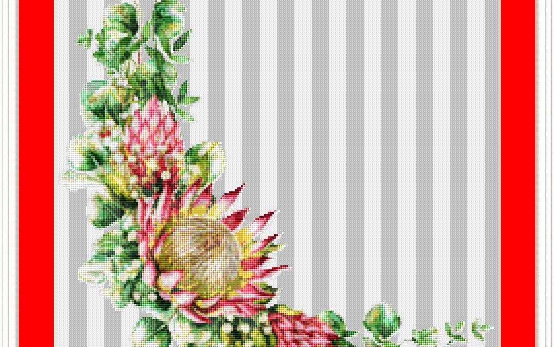 Protea Eucalyptus Corner Cross Stitch