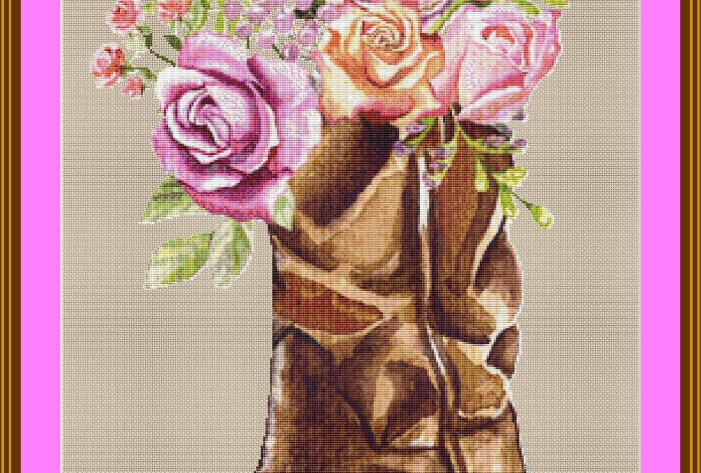 Cowboy Boot with Roses Cross Stitch Pattern