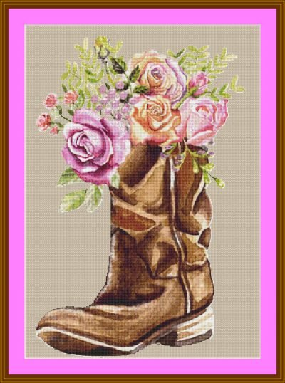 Cross Stitched Cowboy Boots